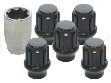 Set of 5 locking wheel nuts and key